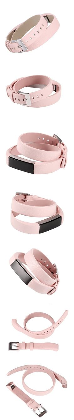 bayite Leather Bands for Fitbit Alta Double-Wrap - Pink