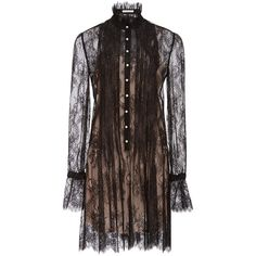 Philosophy di Lorenzo Serafini Pleated Lace Shirt Dress (16.128.455 IDR) ❤ liked on Polyvore featuring dresses, lace mini dress, long sleeve sheath dress, long sleeve floral dress, brown lace dress and button up shirt dress