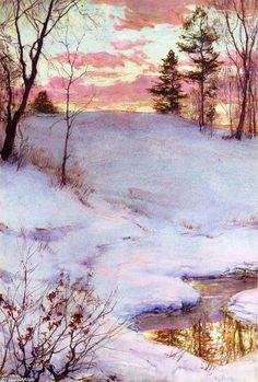 Coucher de soleil d hiver, peinture de Walter Launt Palmer (1854-1932, United States)