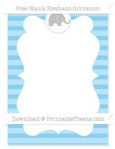 Free Baby Blue Horizontal Striped  Blank Elephant Invitation