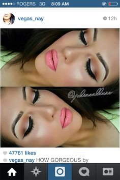 Pink lips and hold eyeshadow