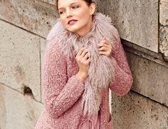 Описание вязания на спицах короткого пальто из пряжи-букле из журнала «Вязание. Мое любимое хобби» №9/2015