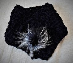Black velvet cowl Velvet neck warmer Black crochet by MariliartbyM