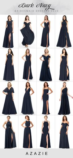 2020 Dark Navy Bridesmaid Dresses at Affordable Prices - Discover our dark navy dresses and evening gowns for bridesmaids. Azazie offers party dresses in dark navy, which will have your wedding party looked exceptional. Source by azazie - Dark Blue Bridesmaid Dresses, Navy Blue Bridesmaids, Azazie Bridesmaid Dresses, Wedding Bridesmaid Dresses, Dark Blue Dresses, Navy Blue Gown, Navy Blue Evening Gown, Bride Dresses, Wedding Party Dresses