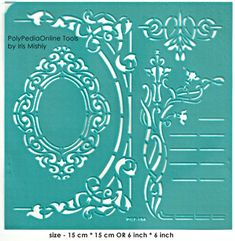"""Stencil Stencils Pattern Template """"Mirror"""" 6 inch/15 cm, reusable, adhesive, flexible, for polymer clay, fabric, wood, glass, card making"""