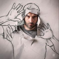 Sébastien DEL GROSSO Combining Sketches And Photography, An Artist Creates A Series Of Self Portraits