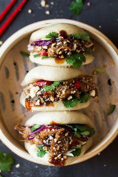 Vegan bao buns with pulled jackfruit - Lazy Cat Kitchen