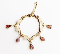two of a kind rose quartz and pink opal jewel gold chain bracelet by odi on Etsy, $35.78 AUD
