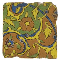 A Mughal cuerda seca tile, probably Lahore, 17th Century   lot   Sotheby's