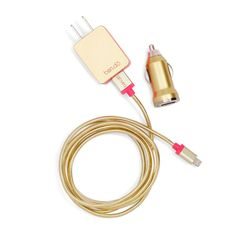 style: metallic gold you are gold, baby. solid gold! and now our power trip is too! our power trip comes with a durable cord and two types of plugs so they're ready to plug in anywhere. go ahead, give