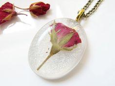 Valentines Real Rose Necklace - Pressed Flower Botanical Jewellery