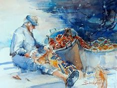"Repairing the Nets, Amalfi Coast, Italy by Diann Benoit Watercolor ~ 12"" x 16"""