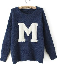Blue Long Sleeve M Print Knit Sweater GBP£21.24