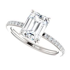 Moissanite Engagement Ring| 8x6 or 1.75 Carats Emerald Cut Forever Brilliant| 14k White Gold| Contemporary Engagement Ring