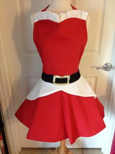 Mrs Claus costume apron by AJsCafe on Etsy, $35.00