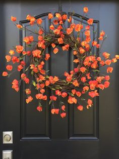 Wreaths Fall Wreath Chinese Lanterns Plant Fall by twoinspireyou