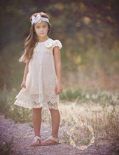 Ivory lace dress, Baptism girl,rustic flower girl dress  girls lace dress, Ivory…