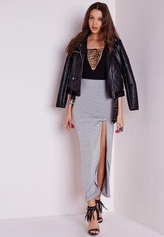 Tie Knot Maxi Skirt Grey, Grey