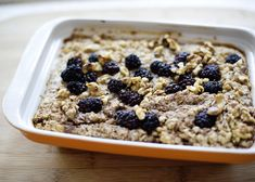 Healthy Baked Oatmeal recipe - a healthy breakfast version of something on the sweetish side. Use whatever you have on hand, in season, and looks good.  Peaches and raspberries, apples and pecans, blueberries. #healthy #breakfast #brunch #fruit #oatmeal