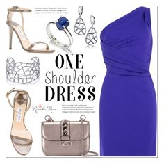 """Party Style: One-Shoulder Dress"" by mada-malureanu ❤ liked on Polyvore featuring Dsquared2, Jimmy Choo, Valentino, Lazuli, Silver, dress, jewelry and revekarose"