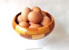 Midcentury Wood Fruit Bowl Vintage Egg by CuriosAnCollectibles