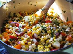 corn salad with herbs and feta.