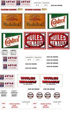 Etiquettes anciennes caisses automobile diverses marques - vintage labels for car crates of oïl ... pour miniatures 1/12 (creation VM)