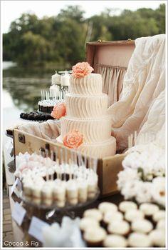 Rustic Chic Pale Pink & Peach Wedding Cake