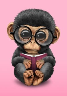 Cute Pink Baby Chimp Reading a Book Art Print by jeffbartels : artwork Cute Cartoon Pictures, Cartoon Pics, Cute Pictures, Cute Baby Monkey, Cute Baby Animals, Cute Animal Drawings, Cute Drawings, Monkey Art, Cute Cartoon Wallpapers