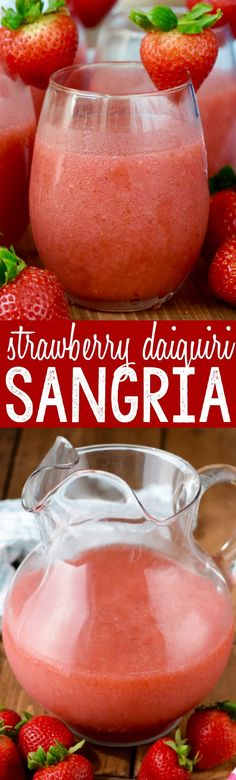 This Strawberry Daiquiri Sangria is super easy to make, no crazy ingredients, and is awesome for a party! You just might want to triple it, because it will go FAST! Party Drinks Alcohol, Drinks Alcohol Recipes, Cocktail Drinks, Alcoholic Drinks, Tequila Drinks, Drink Recipes, Smoothie Recipes, Refreshing Drinks, Summer Drinks