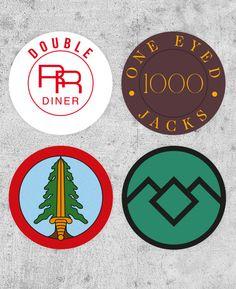 4 autocollants de Twin Peaks ! Bookhouse Boys, un eyed jacks, Double RR Diner, prop tv, david lynch, cooper d'agent de dale, palmer laura