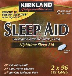 Kirkland Signature Sleep Aid 192 Tablets Doxylamine Succinate 25 mg Nighttime
