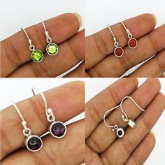 0afb27ef9abe Earrings Solid 925 Sterling Silver Jewelry Natural Gemstone Free Shipping  1.8 gm  Unbranded  DropDangle
