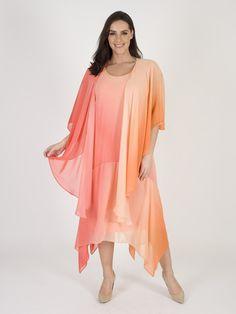 Orange/Coral Ombre Chiffon Dress