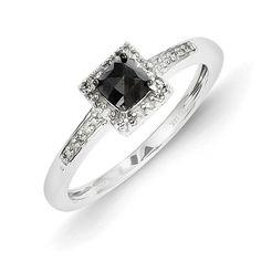14k White Gold Black Diamond Ring