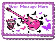 ROCKSTAR PRINCESS Image Edible cake topper decoration #GalimelisWorld Birthday Party Design, Birthday Cake, Rockstar Birthday, Frosting Colors, Rock Star Party, Edible Cake Toppers, Cake Images, Party Themes, Themed Parties