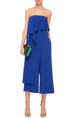 Silk Crepe De Chine Drape Front Jumpsuit by TIBI Now Available on Moda Operandi