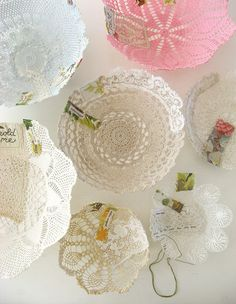 DIY:: Lace Doily Bowls To shape a bowl, soak a doily in liquid starch, squeeze out excess, and place doily over an inverted glass bowl covered in waxed paper. Dry one to three days, depending on humidity.