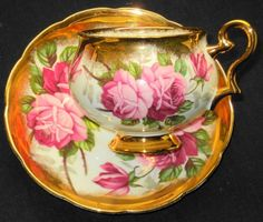 TAYLOR KENT LARGE PINK ROSES HEAVY GOLD FOOTED TEA CUP AND SAUCER