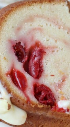 Cherry Almond Bundt Cake ~ A traditional pound cake filled with cherry pie filling and topped with a cream cheese glaze.