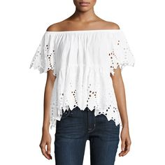 Xcvi Mika Off-the-Shoulder Eyelet Top ($47) ❤ liked on Polyvore featuring tops, white, grommet top, white off shoulder top, asymmetrical hem top, ruffle sleeve top and white eyelet top