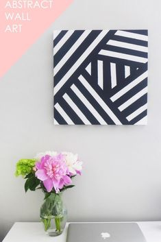 35 Wall Art Ideas for the Bedroom - DIY Modern Black And White Abstract Art - Rustic Decorating Projects For Bedroom, Brilliant Wall Art Projects, Cre Simple Wall Art, Diy Wall Art, Diy Wall Decor, Diy Art, Fabric Wall Decor, Diy Canvas Art, Canvas Wall Art, Bathroom Canvas Art, Canvas Ideas