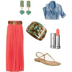 Comfy Spring Outfit. Coral maxi huge brown belt and chambray