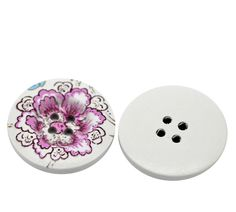 HOUSWEETY 30PCs Purple Flower Pattern 4 Holes Wood Sewing Buttons Scrapbooking 30mm Dia -- See this great item.