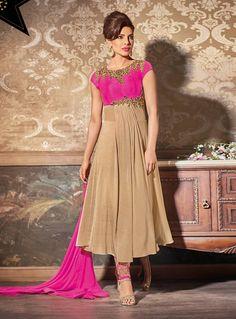 Buy Priyanka Chopra Beige Georgette Anarkali Suit 74293 online at lowest price from huge collection of salwar kameez at Indianclothstore.com.
