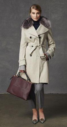 The look: The Winter Classic Long Trench and the Borough Bag in Pebbled Leather from Coach