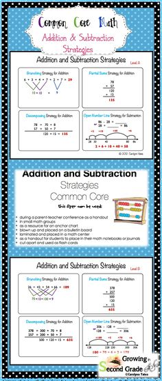 Common Core Math Addition and Subtraction Strategies using Mental Math! Great as a parent handout, give to parent volunteers who help children in math, to place in student math journals or place at a math center!