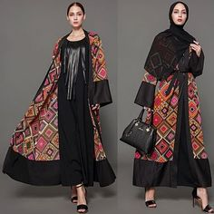 Women Muslim Robe Cardigan Print Bell Long Sleeves Front Open Belted Long Loose Abaya Dress Plus Size,G7132R-XL,XL,Red Price in Dubai UAE  Online on Awok.com