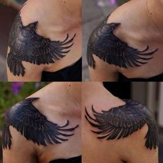 Upper arm crow tattoo