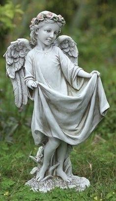 Guardian Angel With Roses Bird Feeder Garden Statue